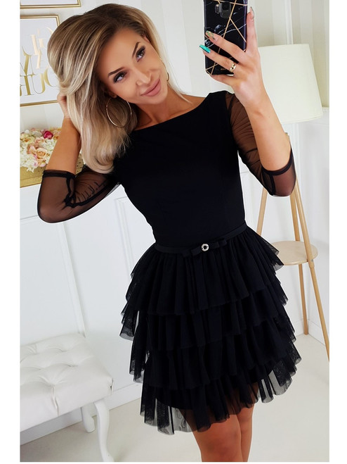 3/4 Sleeve Frill Bottom Dress - Black