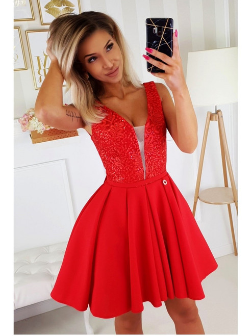 Skater Dress with Plunge Neckline - Red