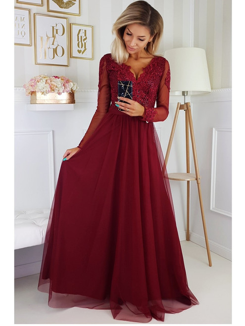Maxi Dress with Tulle Skirt and Long Sleeves - Burgundy