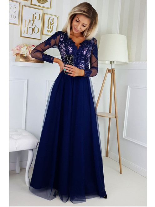 Maxi Dress with Tulle Skirt and Long Sleeves - Navy