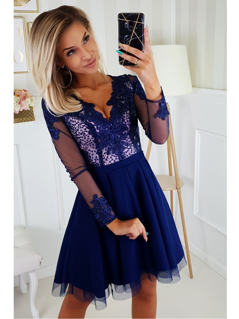 Dress with Tulle Skirt and Long Sleeves - Navy