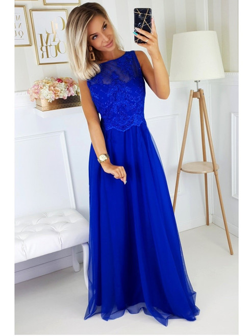Boat Neckline Maxi Dress with Tulle Skirt - Royal Blue
