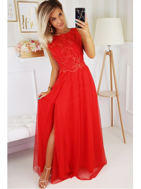 Boat Neckline Maxi Dress with Tulle Skirt - Red
