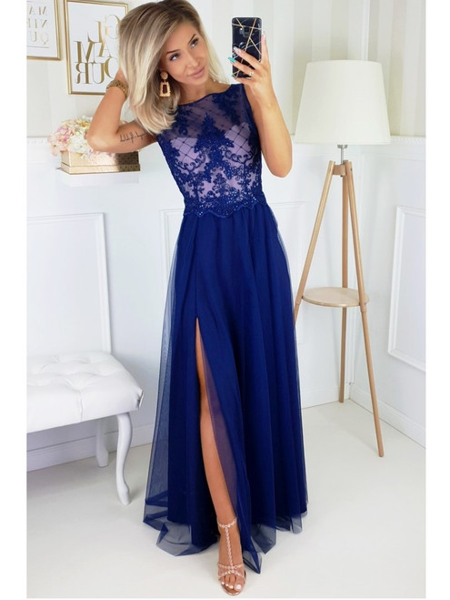 Boat Neckline Maxi Dress with Tulle Skirt - Navy