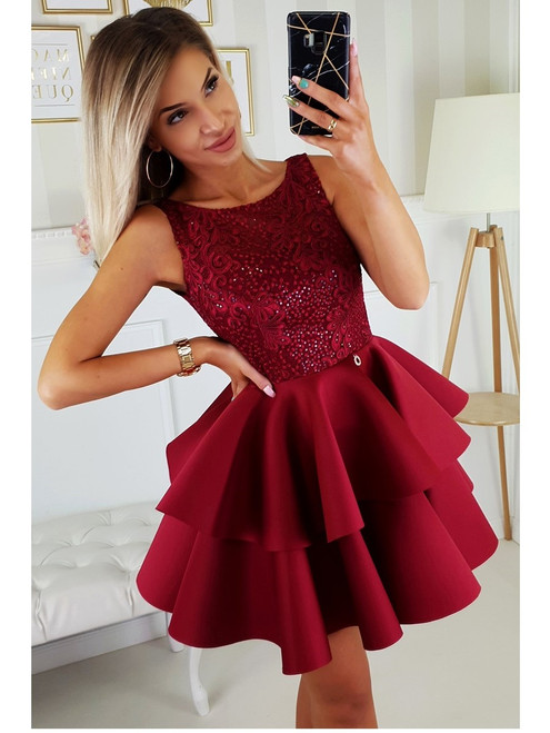 Lace Top and Frill Bottom Dress - Burgundy