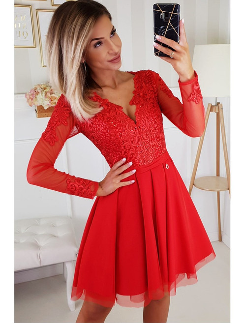 Dress with Tulle Skirt and Long Sleeves - Red