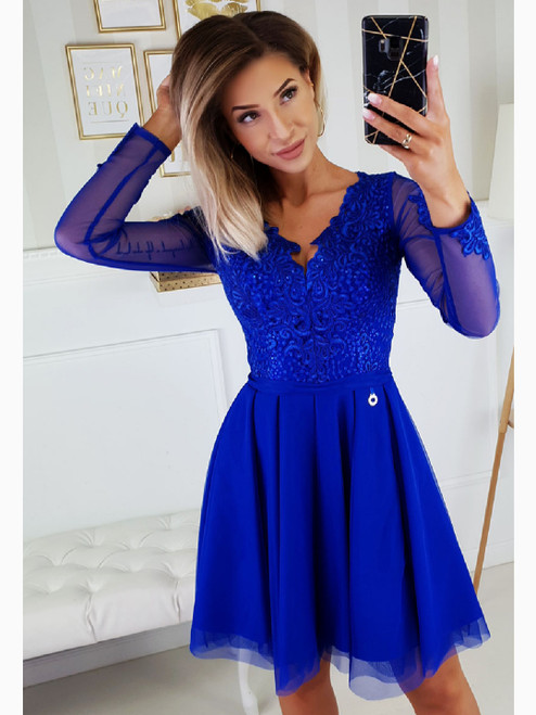 Dress with Tulle Skirt and Long Sleeves - Royal Blue