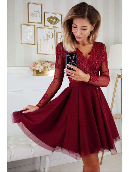 Dress with Tulle Skirt and Long Sleeves - Burgundy