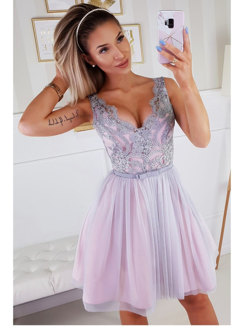 Plunge Neckline Dress with Tulle Bottom -  Pink and Grey