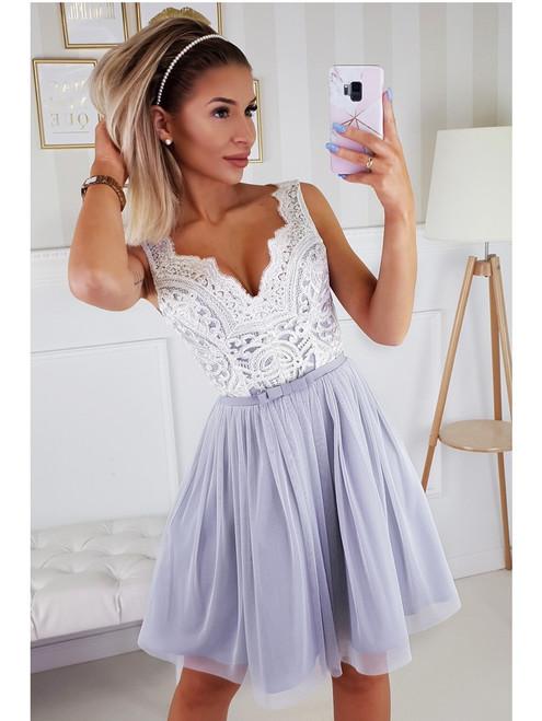 Plunge Neckline Dress with Tulle Bottom - Ecru and Grey