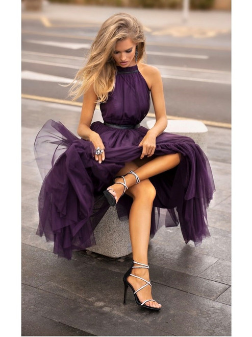 Midi Halter Neck Tulle Dress - Purple