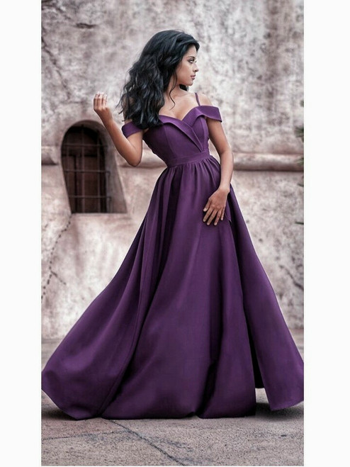 Fold-over Bardot Maxi Dress - Dark Purple