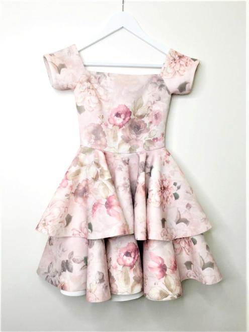 Neoprene Dress with Frill Bottom - Beige/Floral Print