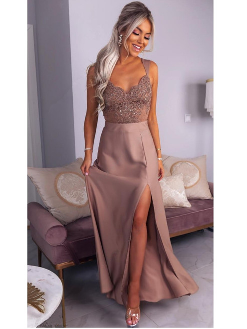 Lace Top Maxi Dress with Slit - Cappuccino