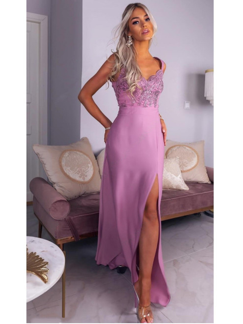 Lace Top Maxi Dress with Slit - Pink