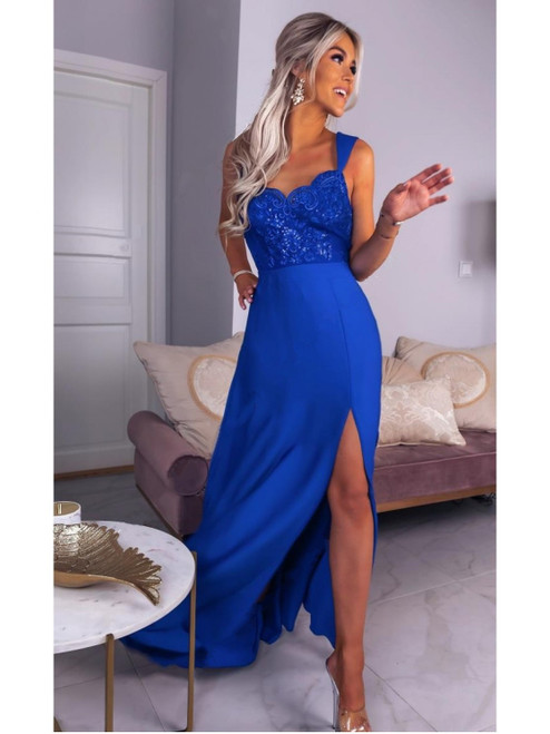 Lace Top Maxi Dress with Slit - Royal Blue