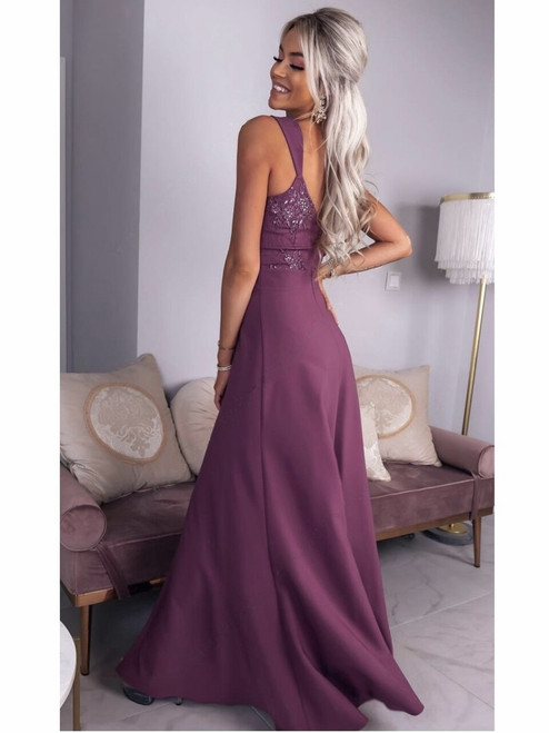Lace Top Maxi Dress with Slit - Plum
