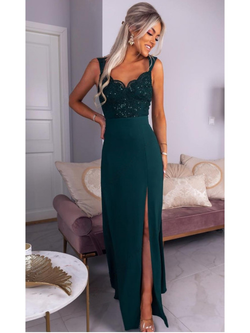 Lace Top Maxi Dress with Slit - Bottle Green