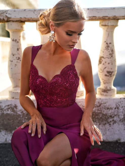 Lace Top Maxi Dress with Slit - Berry