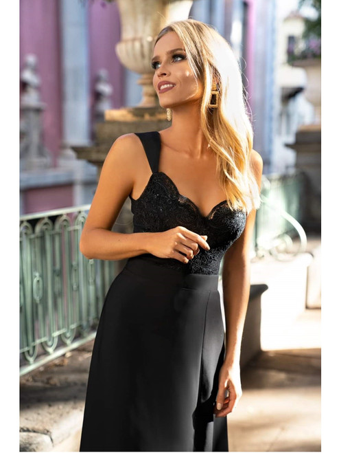 Lace Top Maxi Dress with Slit - Black