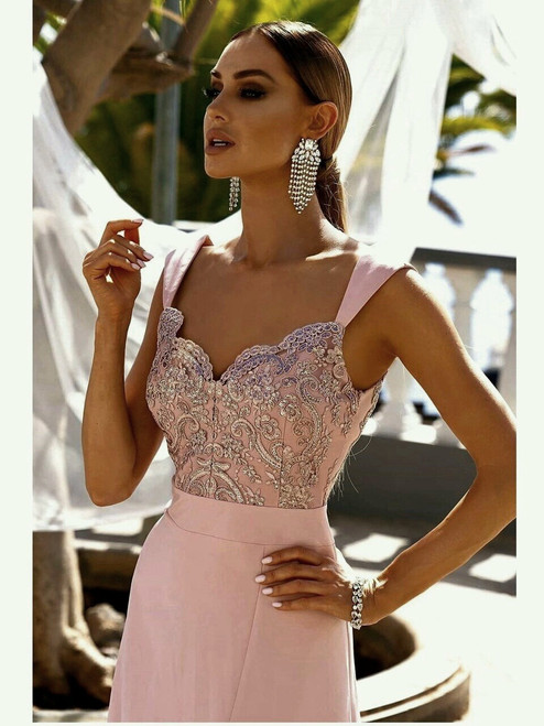 Lace Top Maxi Dress with Slit - Powder