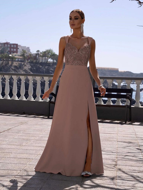 Lace Top Maxi Dress with Slit - Nude