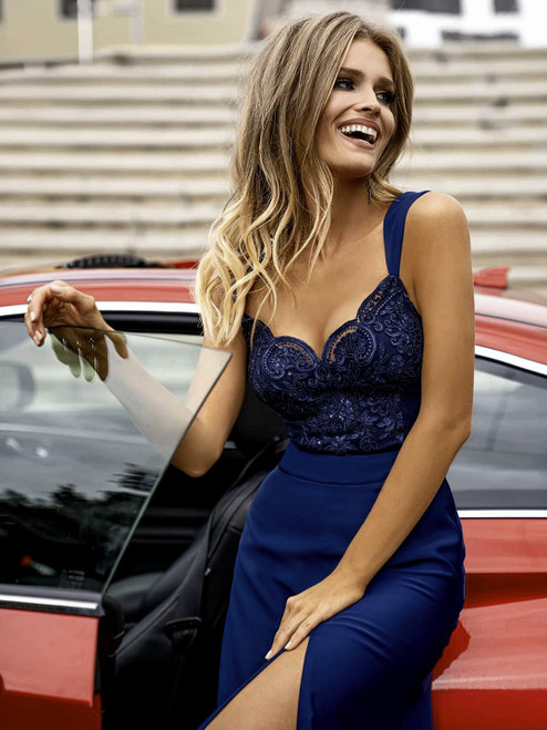 Lace Top Maxi Dress with Slit - Navy