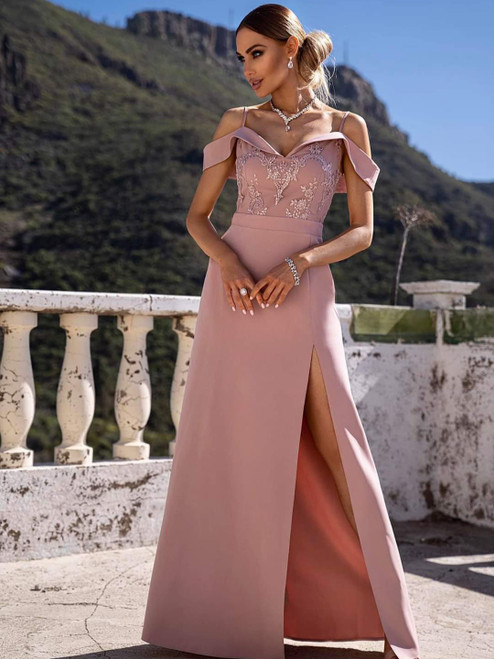 Bardot Maxi Dress with Slit - Powder