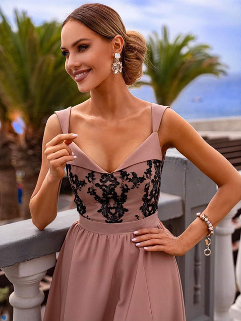 Maxi Dress with Slit - Cappuccino