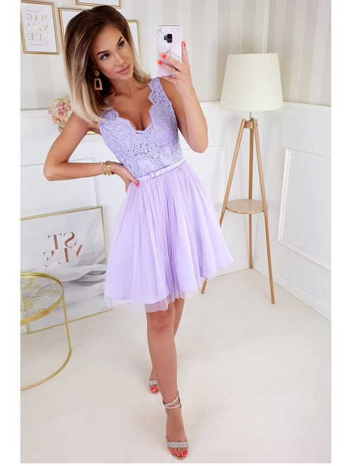 Plunge Neckline Dress with Tulle Bottom -  Lavander