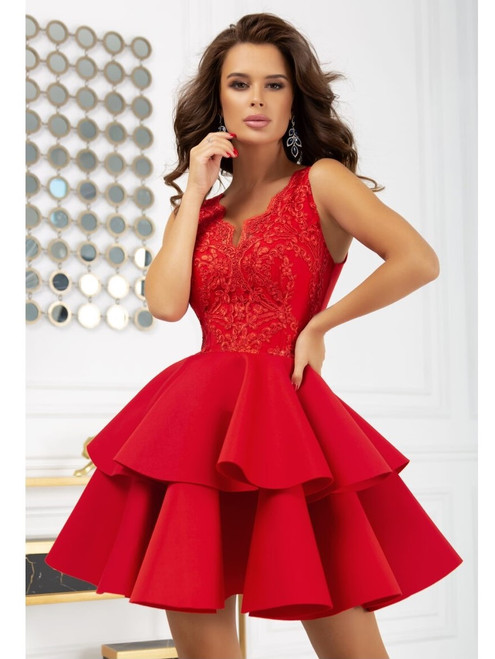Plunge Neckline Lace Top and Frill Bottom Dress - Red