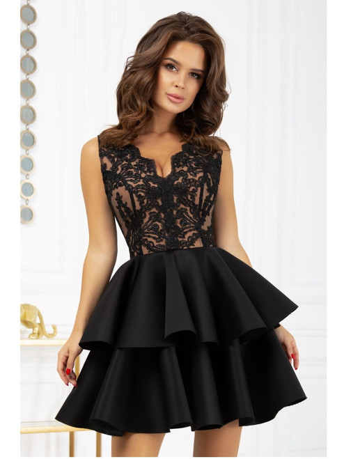 Plunge Neckline Lace Top and Frill Bottom Dress - Black