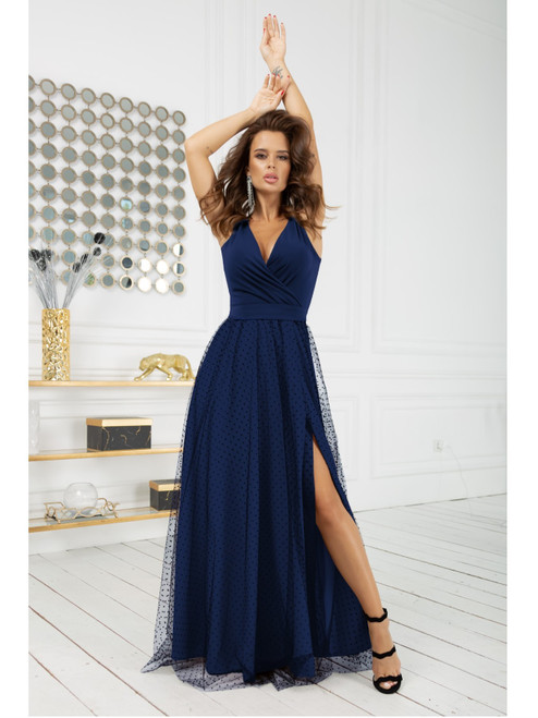 Polka Dot Maxi Dress with Tulle Skirt - Navy