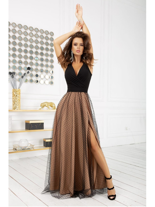 Polka Dot Maxi Dress with Tulle Skirt - Black and Nude