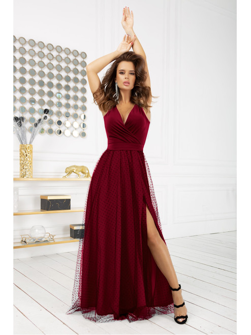 Polka Dot Maxi Dress with Tulle Skirt - Burgundy