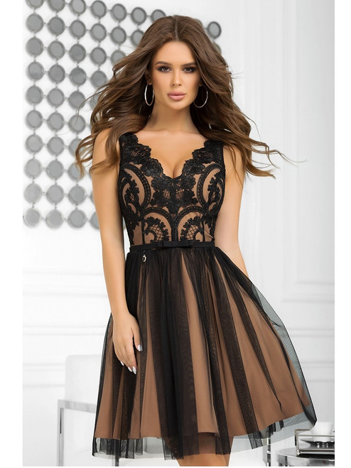 Plunge Neckline Dress with Tulle Bottom -  Black and Nude