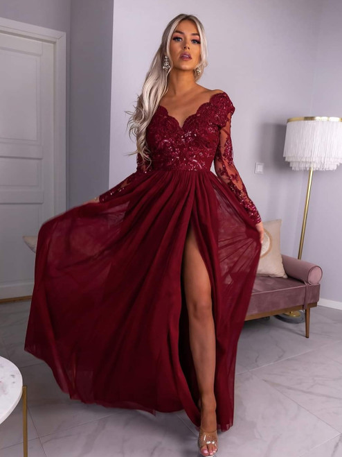 Plunge Neckline Maxi Dress with Sleeves and Tulle Bottom - Burgundy