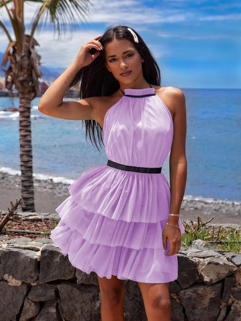 Halter Neck Tulle Dress - Lavender (sparkling)