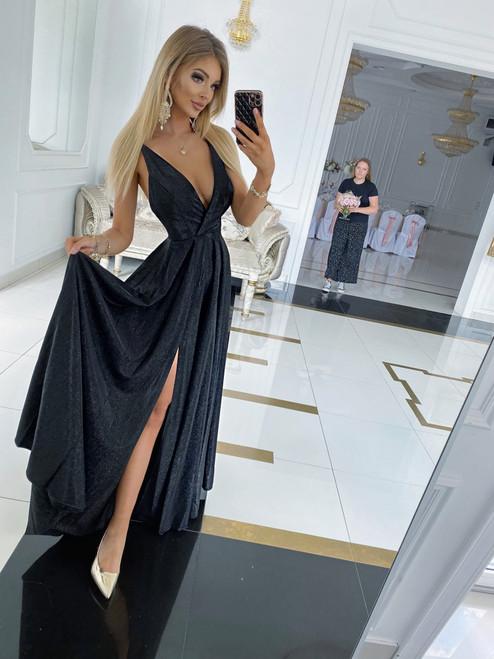 Sarah Dress with Straps - Shimmering Black