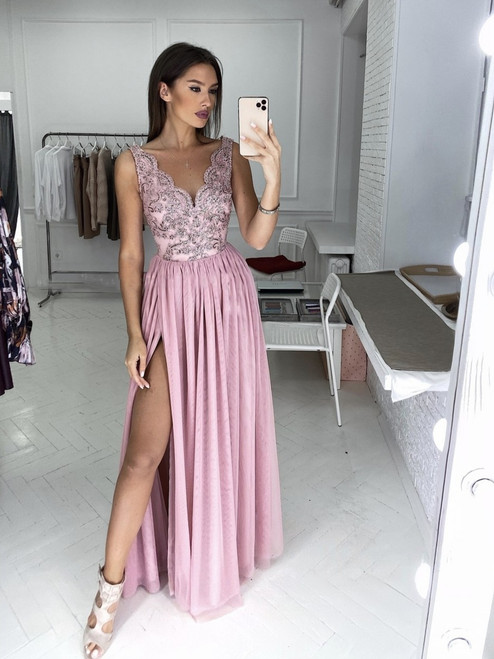 Plunge Neckline Maxi Dress with Tulle Bottom - Power Pink