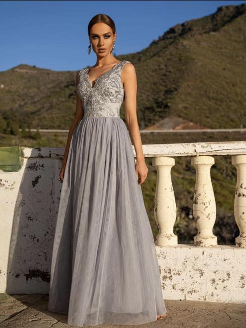 Plunge Neckline Maxi Dress with Tulle Bottom - Grey