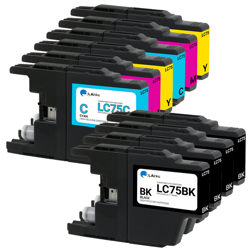 Brother LC-75 (LC75) High Yield Ink Cartridges 10PK - 4 Black, 2 Cyan, 2 Magenta, 2 Yellow (Compatible)