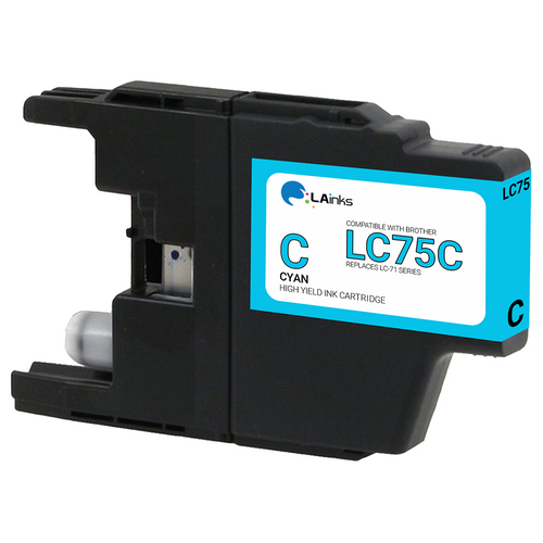 Brother LC-75 (LC75C) High Yield Cyan Ink Cartridge (Compatible)
