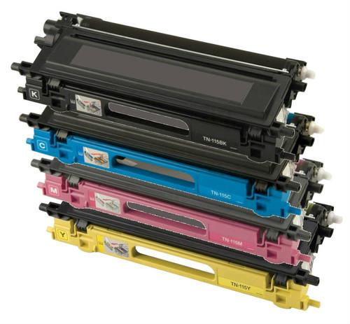 Brother TN115 High Yield Laser Toner Cartridge 4PK - Black, Cyan, Magenta, Yellow (Remanufactured)