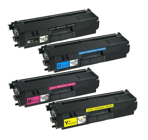 Brother TN315 High Yield Laser Toner Cartridge 4PK - Black, Cyan, Magenta, Yellow (Compatible)