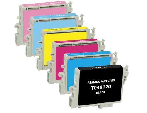 Epson T048 Series Ink Cartridge 6PK - Black, Cyan, Magenta, Yellow, Light Cyan, Light Magenta (Remanufactured)