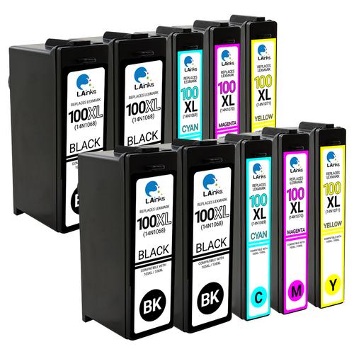 LAinks Replacement for Lexmark #100XL High Yield Ink Cartridges 10PK 4B, 2ea CMY Combo LEX_100XL-10PK