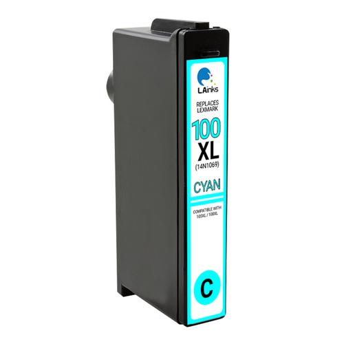 LAinks Replacement for Lexmark #100XL 14N1069 High Yield Cyan Ink Cartridge LEX_100XL-C