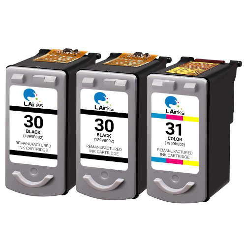 LAinks Replacement for Canon PG30 and CL31 Ink Cartridges 3PK - 2 Black, 1 Color CANON_2-PG30_1-CL31-3PK