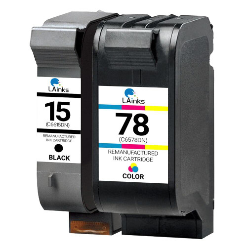 LAinks Replacement for HP 15 and 78 C6615DN/C6578AN Ink Cartridges 2PK - 1 Black, 1 Color HP_1-15_1-78-2PK